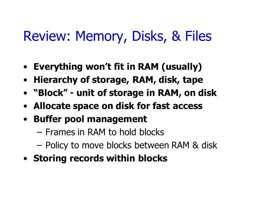 Review: Memory, Disks, & Files