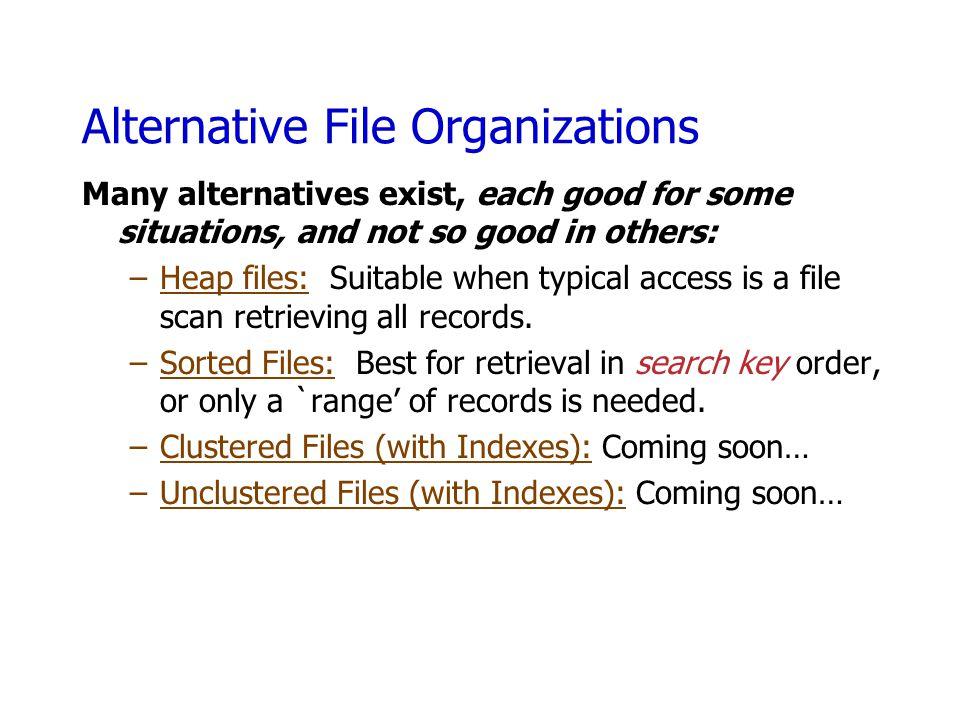 Alternative File Organizations