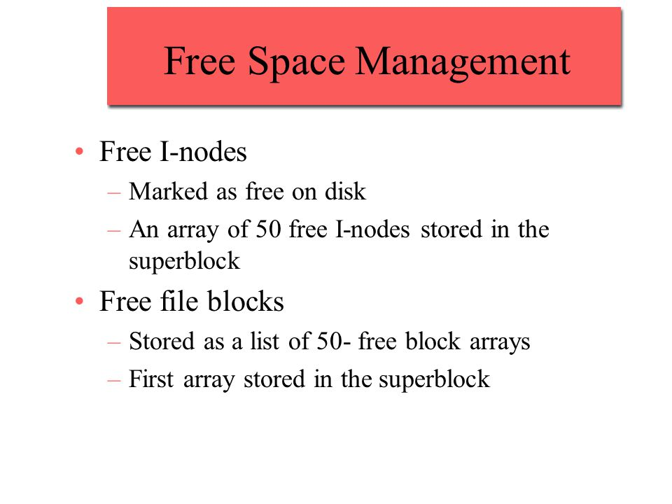 Free Space Management Free I-nodes Free file blocks