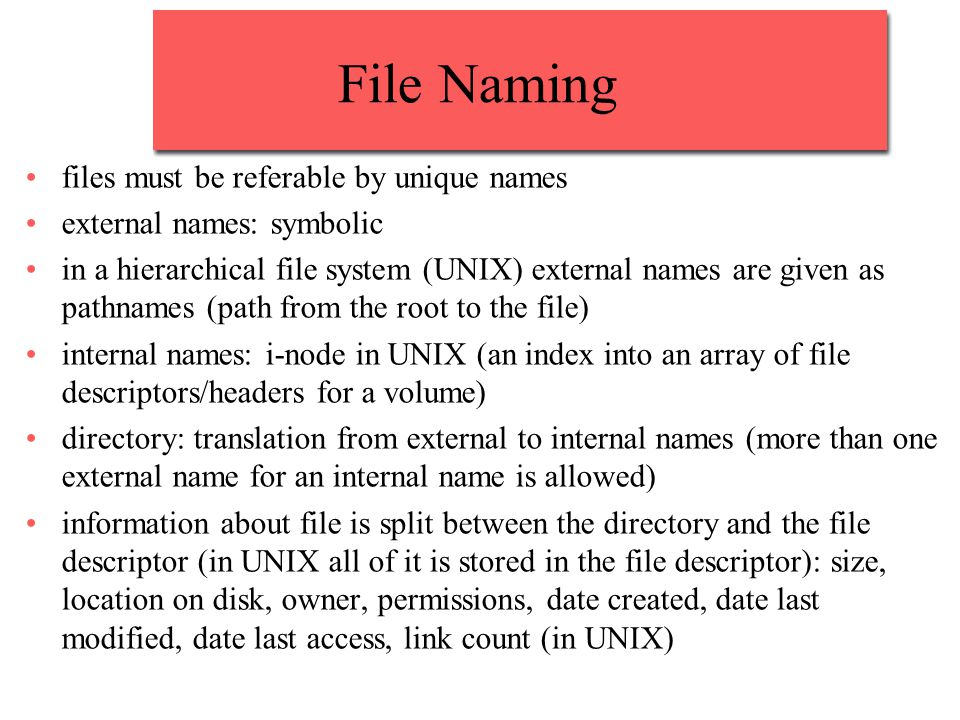 File Naming files must be referable by unique names