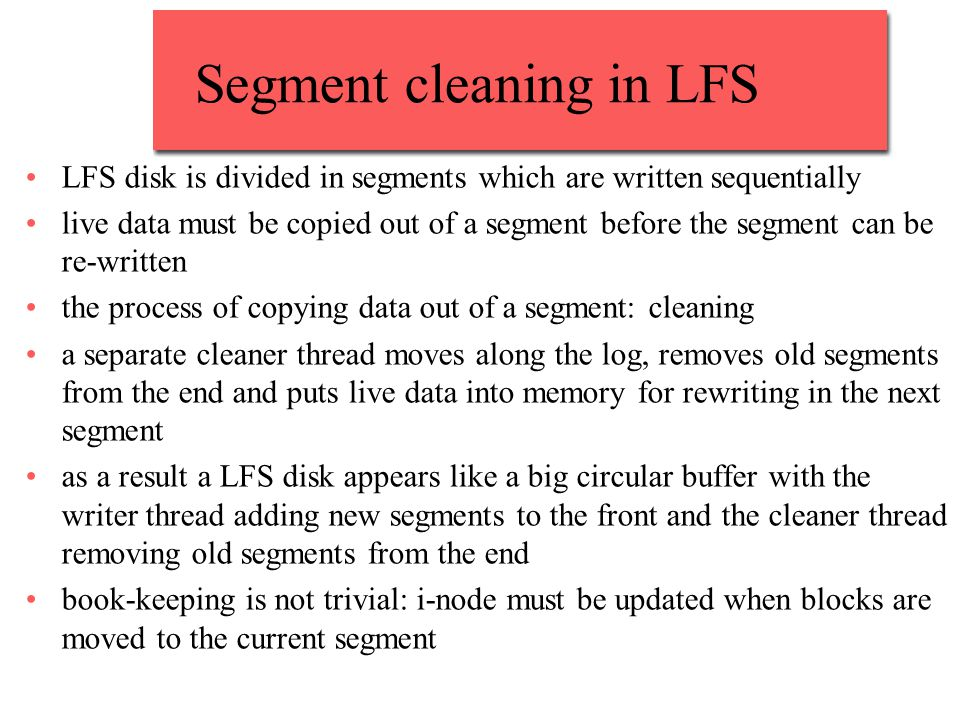 Segment cleaning in LFS