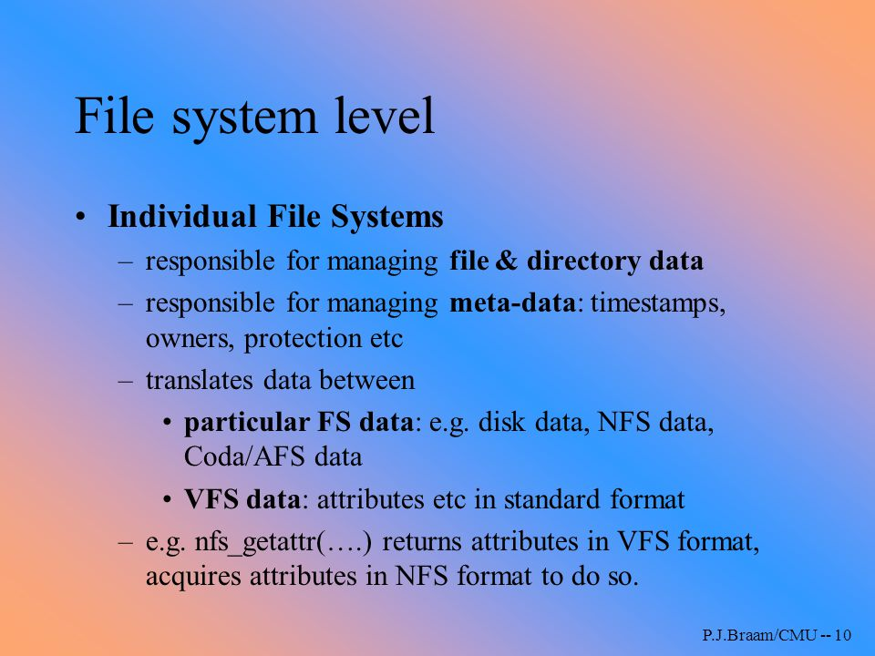 File system level Individual File Systems