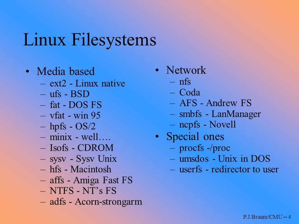 Linux Filesystems Media based Network Special ones ext2 - Linux native