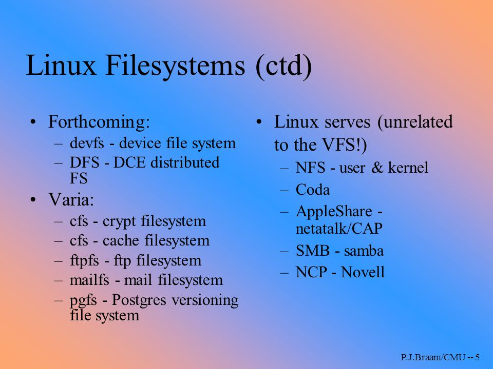 Linux Filesystems (ctd)