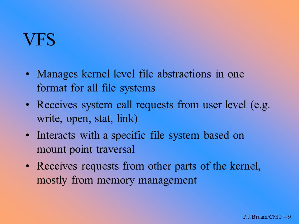 VFS Manages kernel level file abstractions in one format for all file systems.