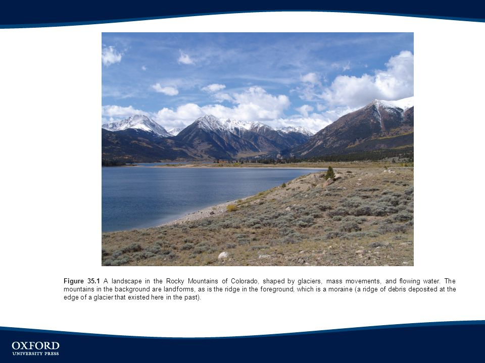 Figure 35.1 A landscape in the Rocky Mountains of Colorado, shaped by glaciers, mass movements, and flowing water.