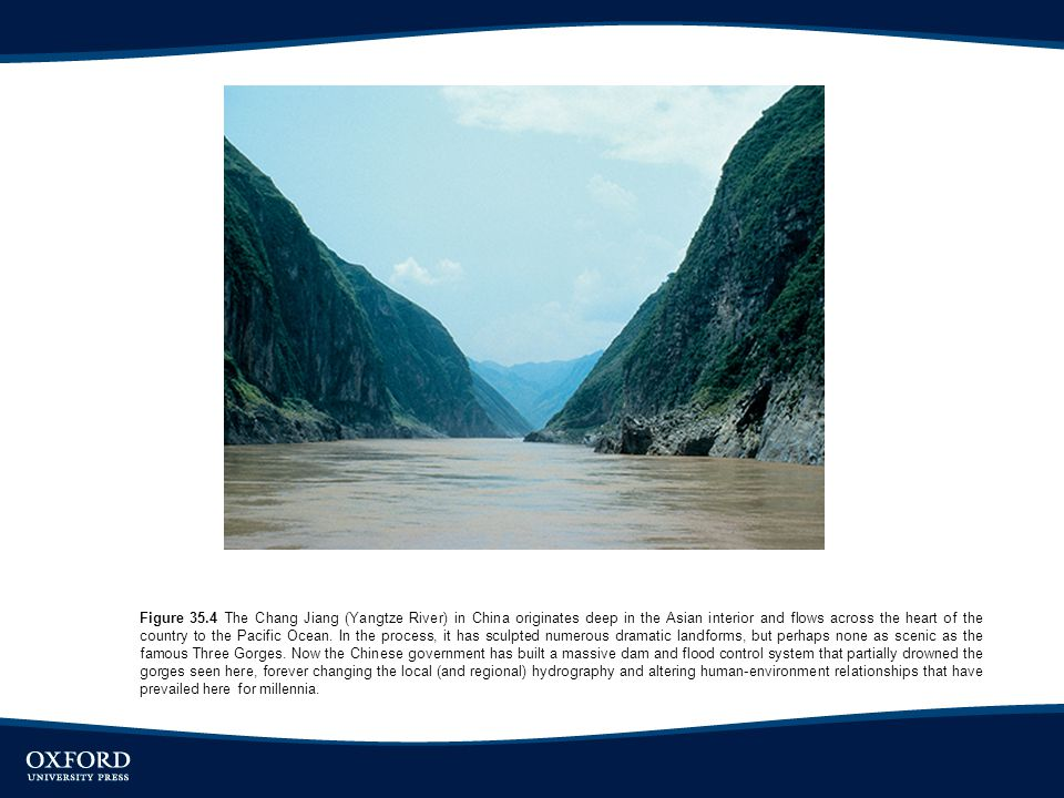Figure 35.4 The Chang Jiang (Yangtze River) in China originates deep in the Asian interior and flows across the heart of the country to the Pacific Ocean.