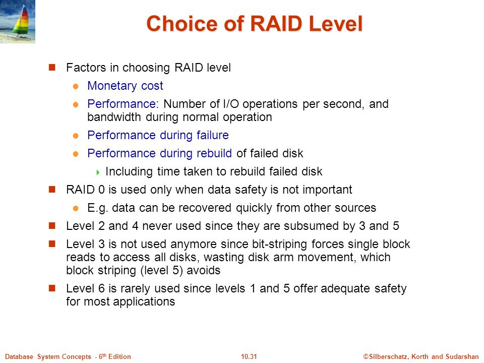 Choice of RAID Level Factors in choosing RAID level Monetary cost