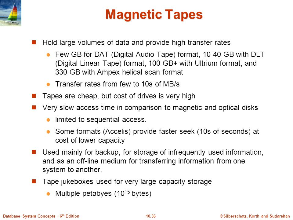 Magnetic Tapes Hold large volumes of data and provide high transfer rates.