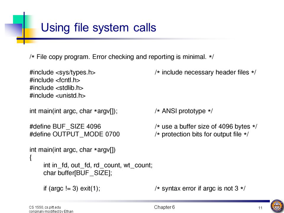 Using file system calls