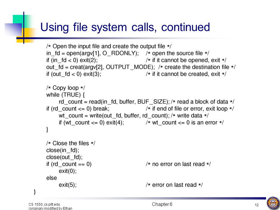 Using file system calls, continued