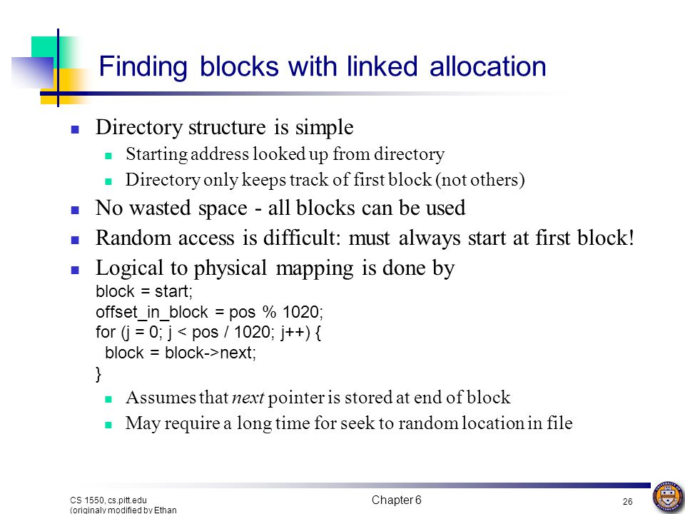 Finding blocks with linked allocation