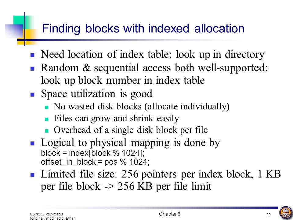 Finding blocks with indexed allocation