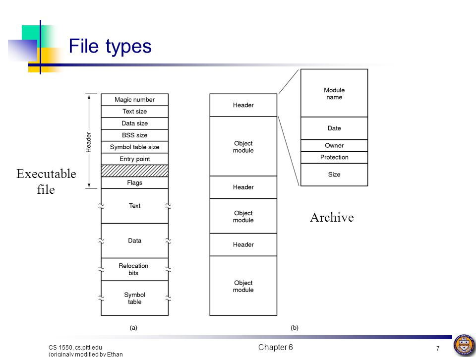 File types Executable file Archive Chapter 6
