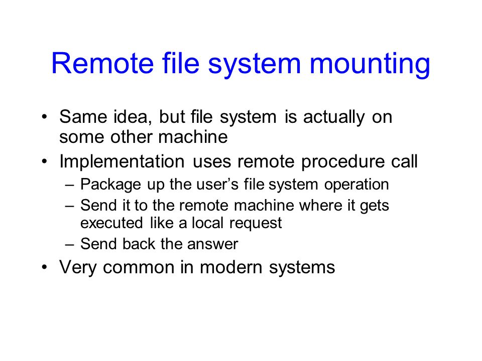 Remote file system mounting