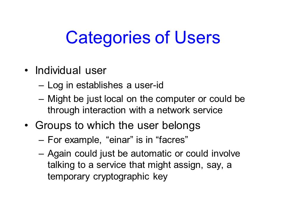 Categories of Users Individual user Groups to which the user belongs