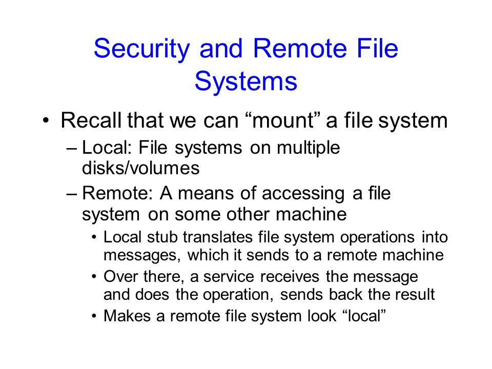 Security and Remote File Systems
