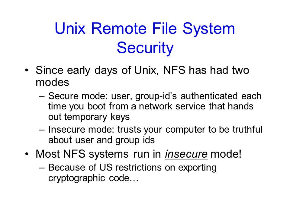 Unix Remote File System Security