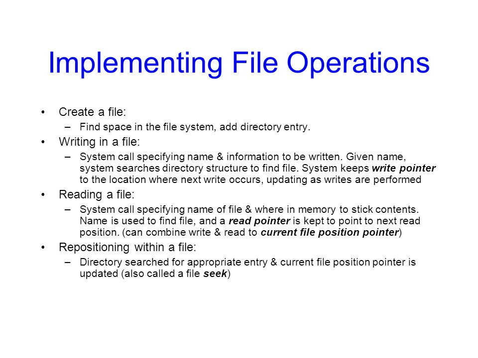 Implementing File Operations