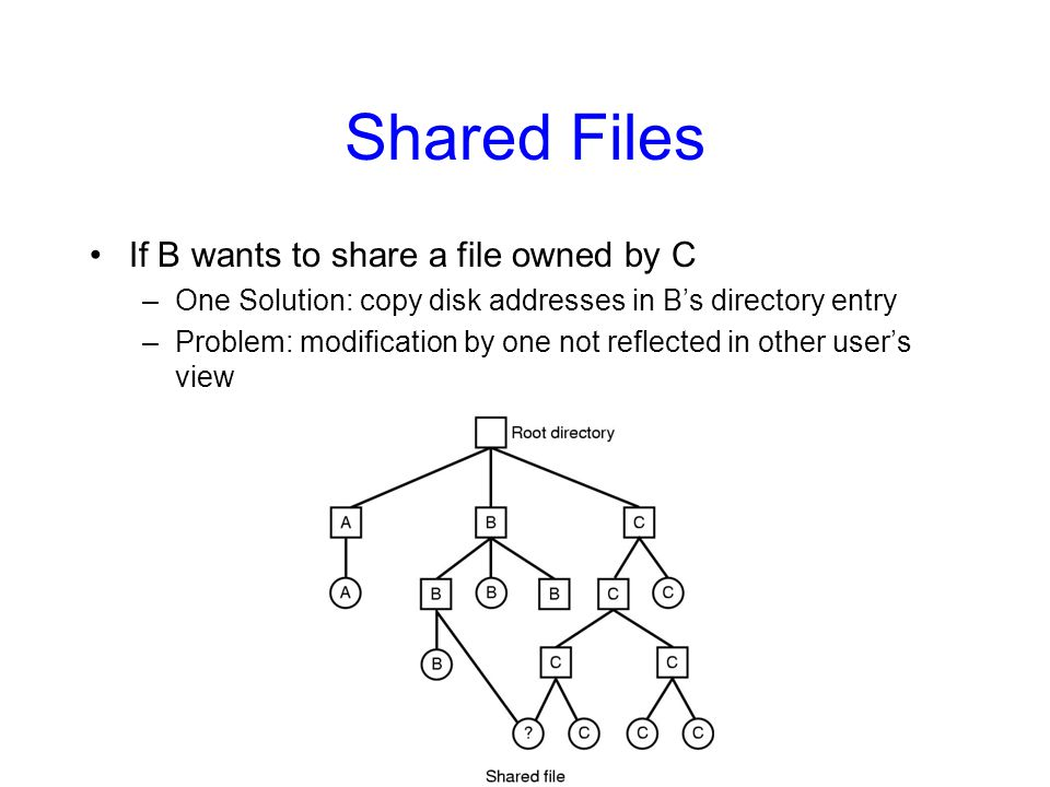 Shared Files If B wants to share a file owned by C
