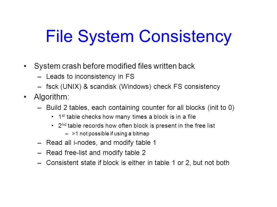 File System Consistency