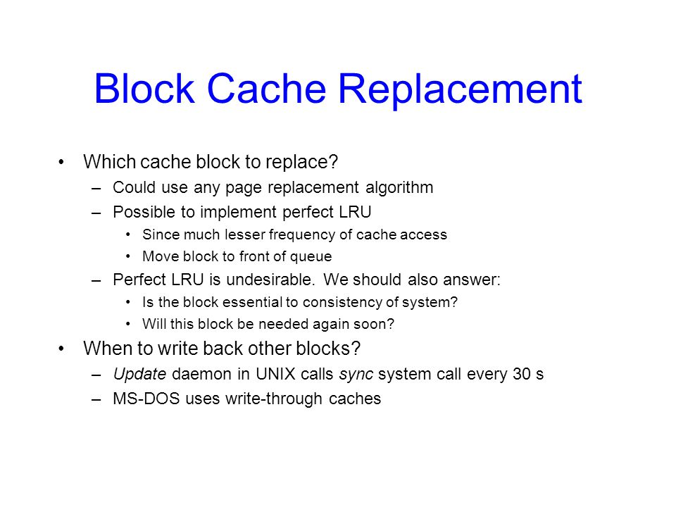 Block Cache Replacement