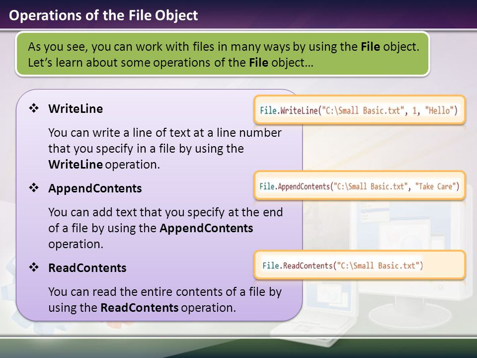 Operations of the File Object
