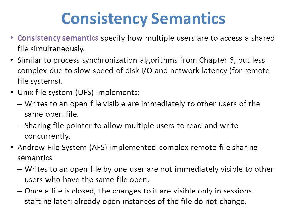 Consistency Semantics