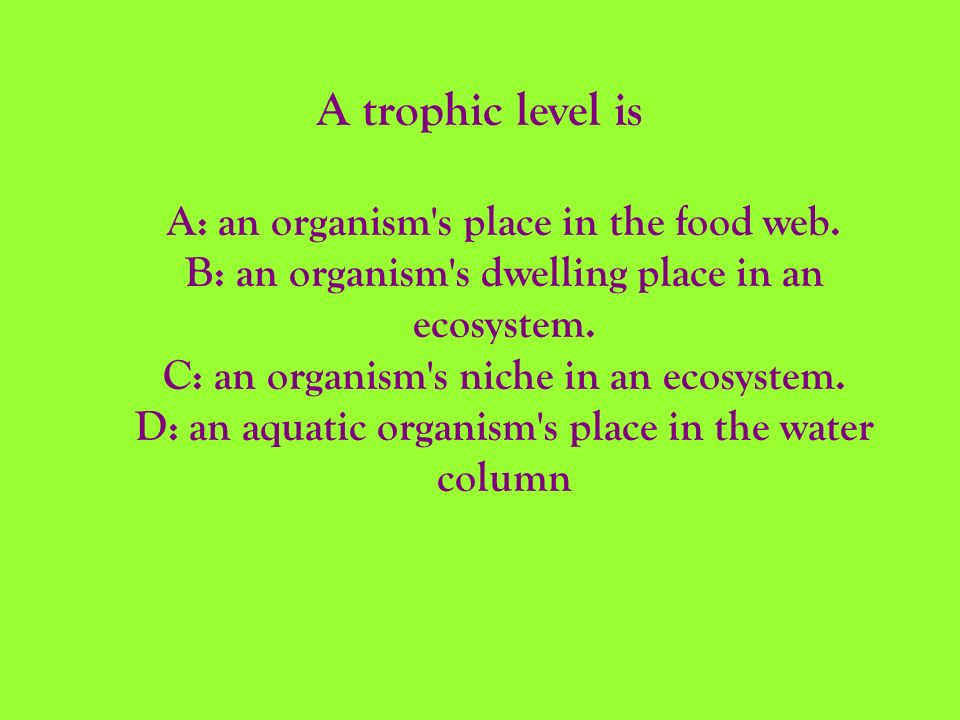A trophic level is A: an organism s place in the food web.