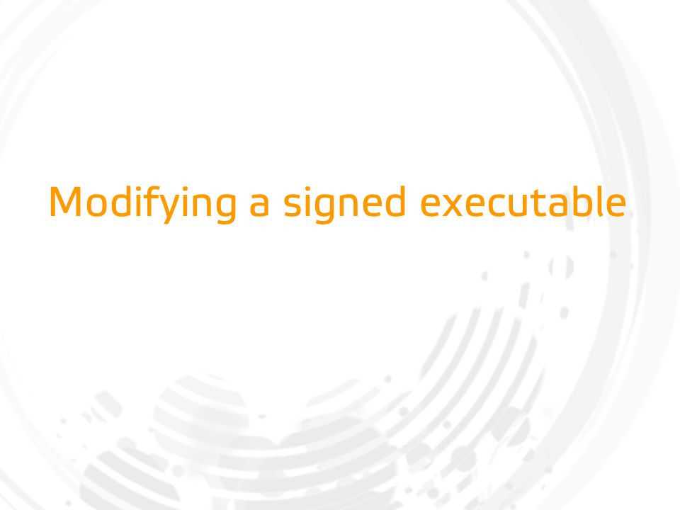 Modifying a signed executable