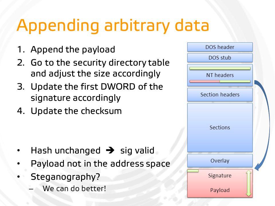 Appending arbitrary data
