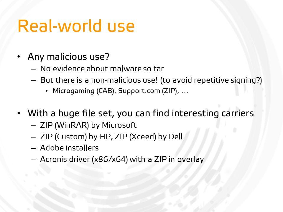 Real-world use Any malicious use