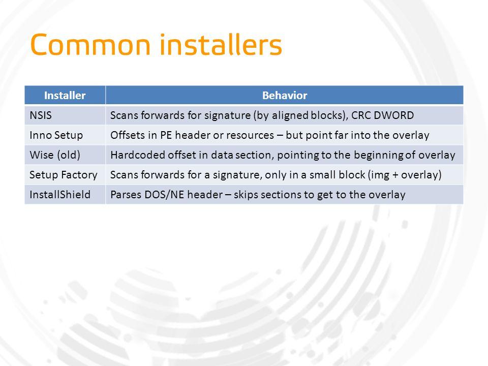 Common installers Installer Behavior NSIS