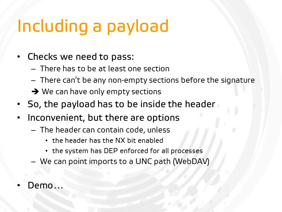 Including a payload Checks we need to pass: