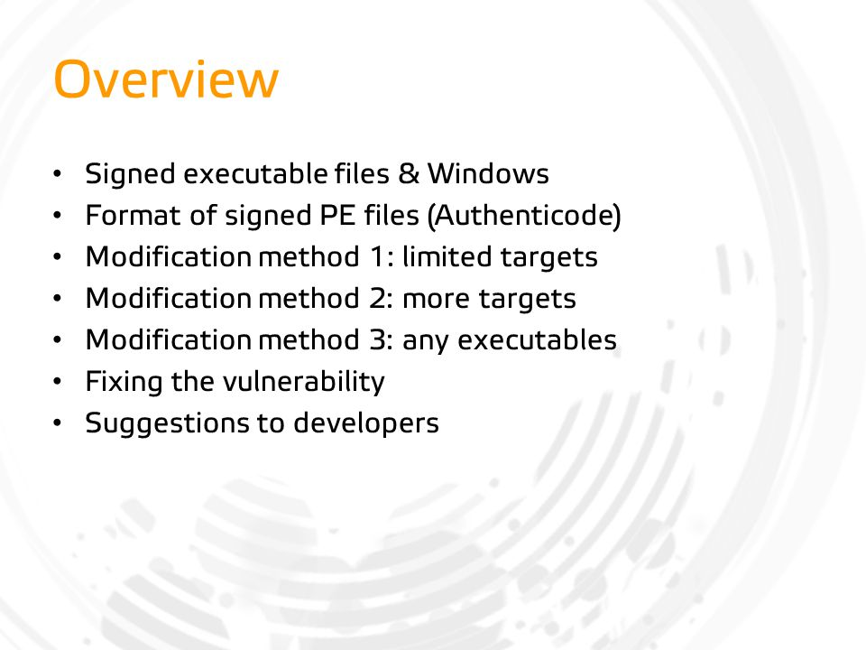 Overview Signed executable files & Windows