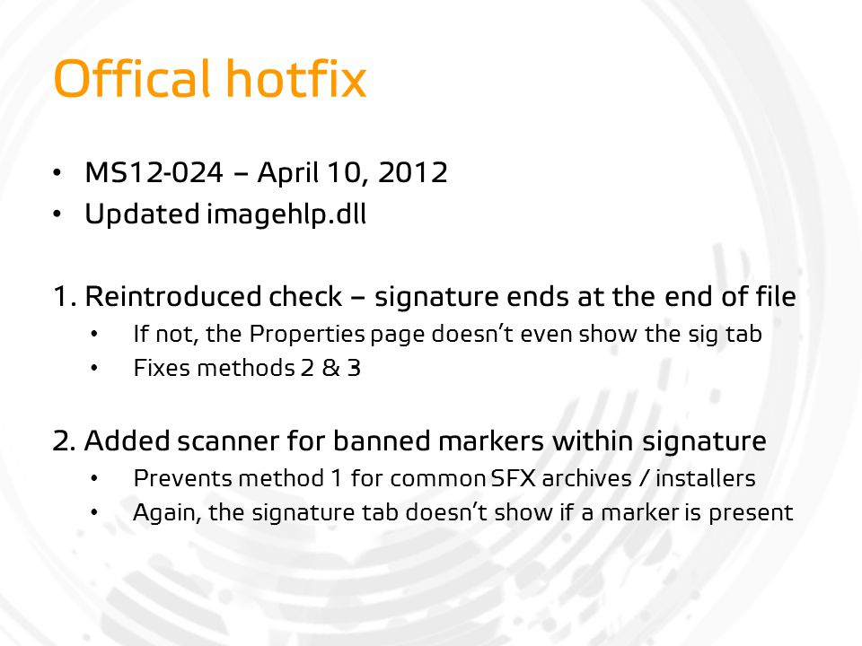 Offical hotfix MS12-024 – April 10, 2012 Updated imagehlp.dll