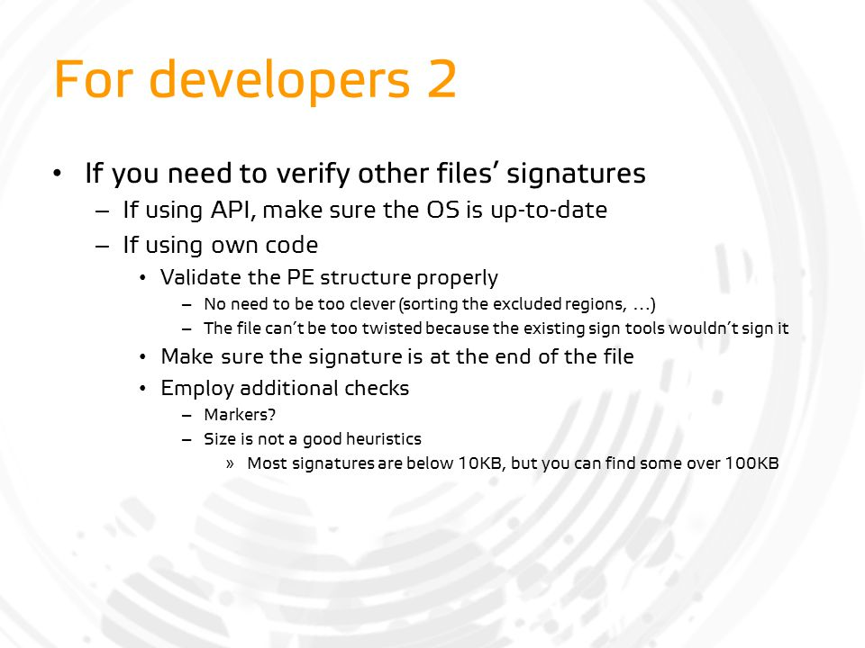 For developers 2 If you need to verify other files' signatures