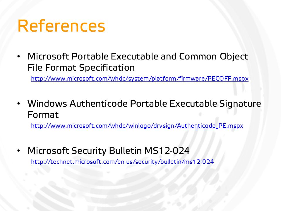 References Microsoft Portable Executable and Common Object File Format Specification.