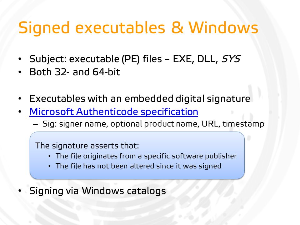 Signed executables & Windows