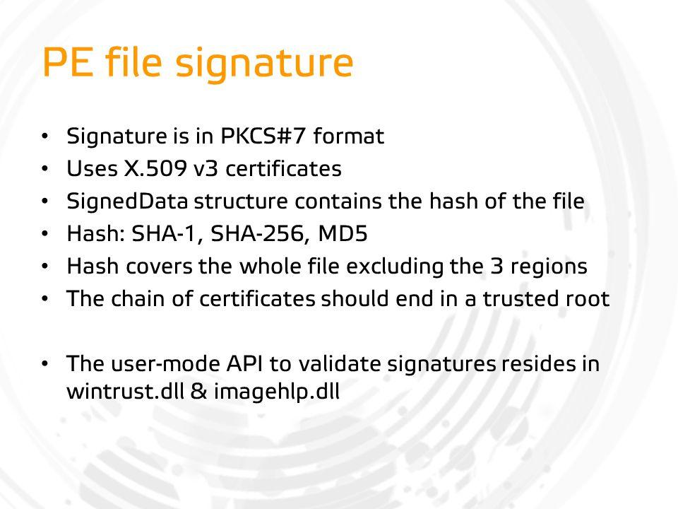 PE file signature Signature is in PKCS#7 format
