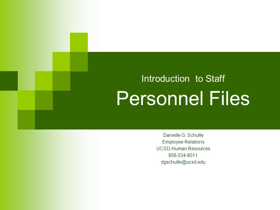 Introduction to Staff Personnel Files