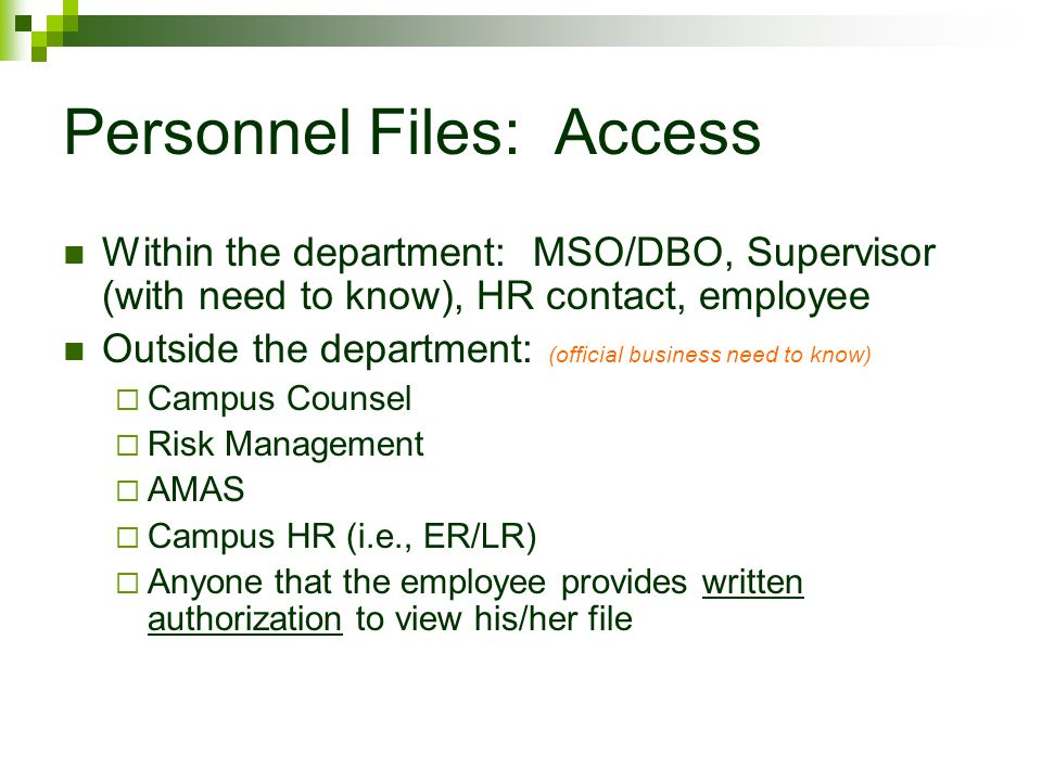 Personnel Files: Access