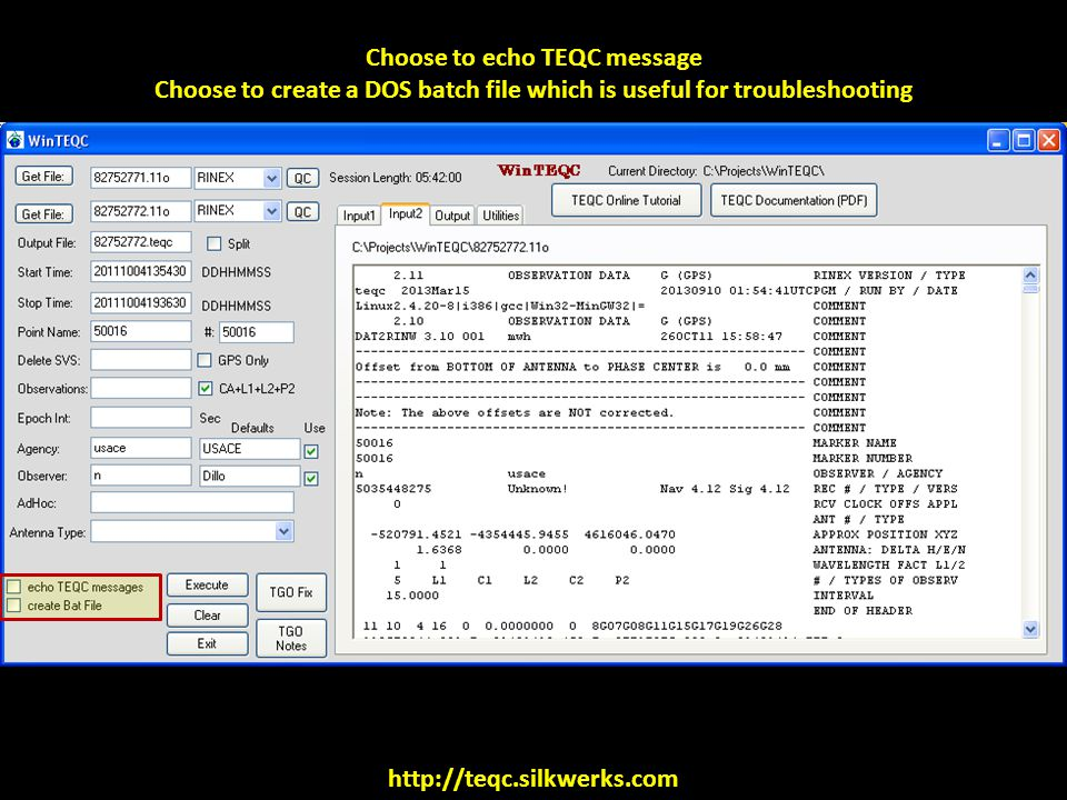 Choose to echo TEQC message