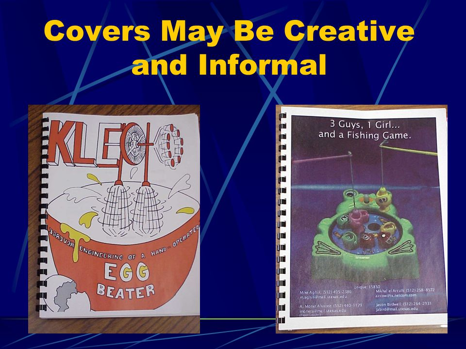 Covers May Be Creative and Informal
