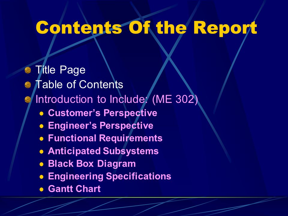 Contents Of the Report Title Page Table of Contents