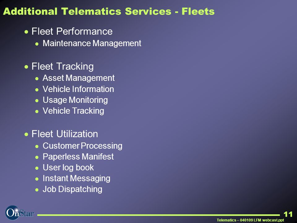 Additional Telematics Services - Fleets