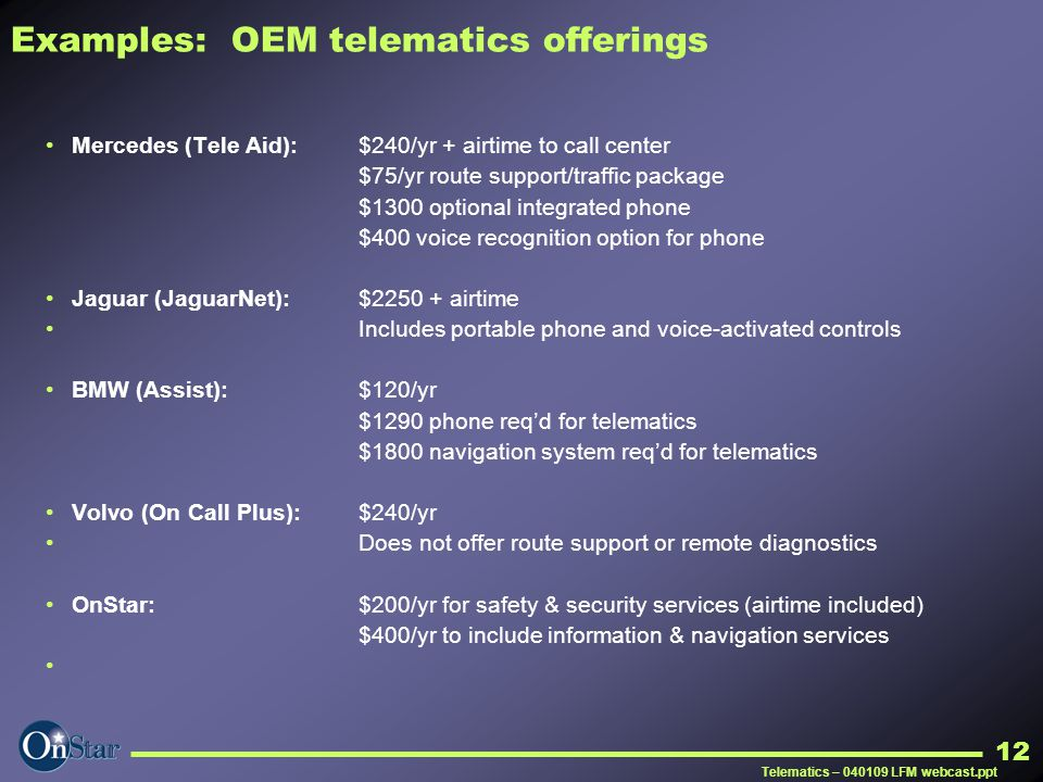 Examples: OEM telematics offerings