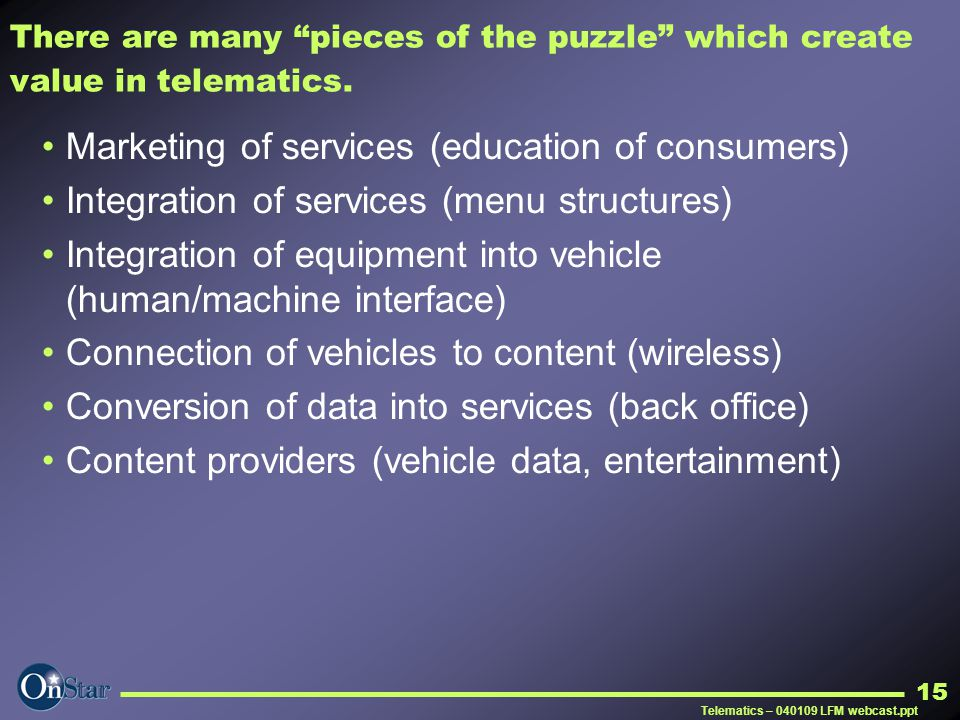 Marketing of services (education of consumers)