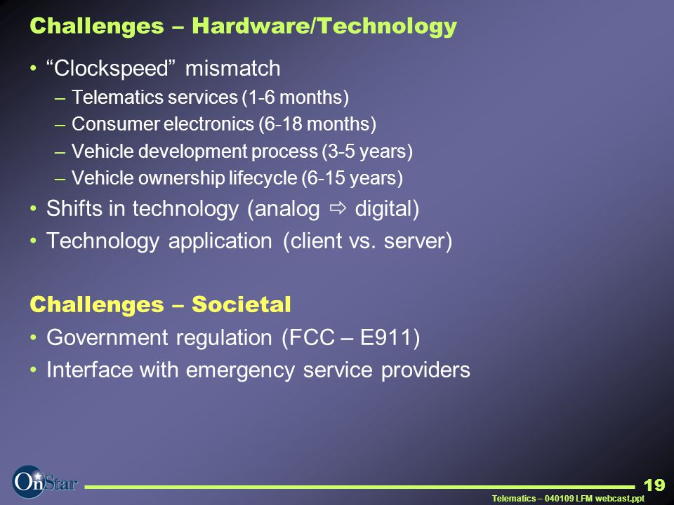 Challenges – Hardware/Technology