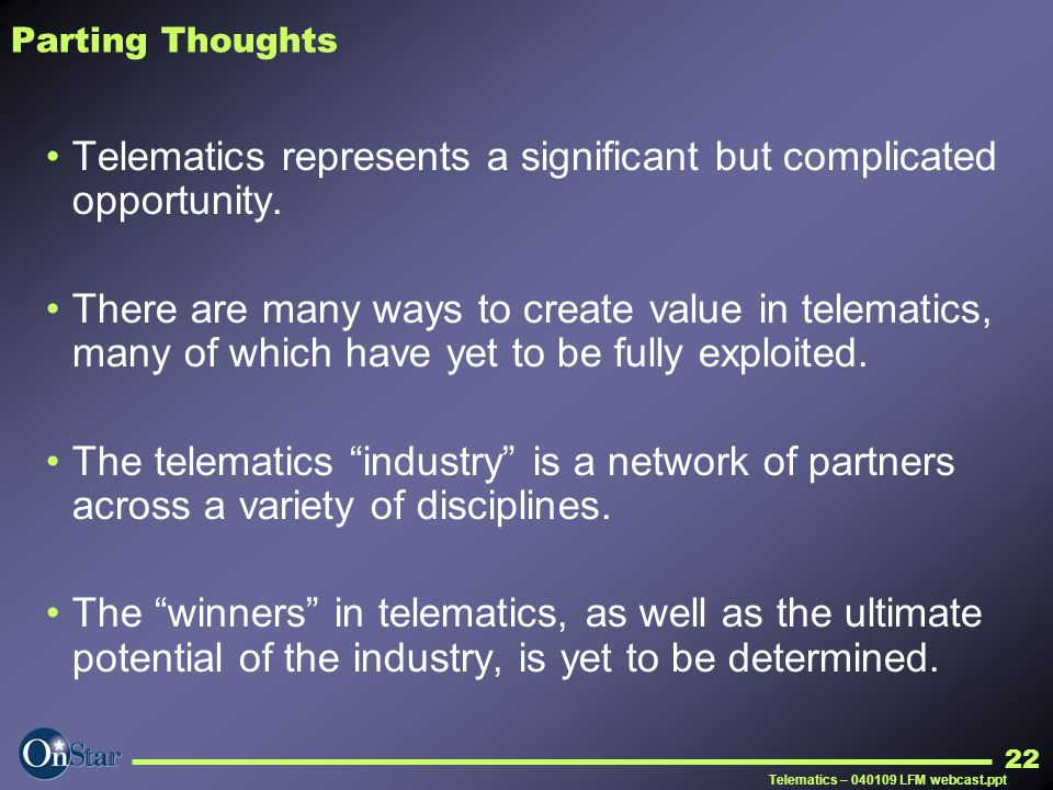 Telematics represents a significant but complicated opportunity.
